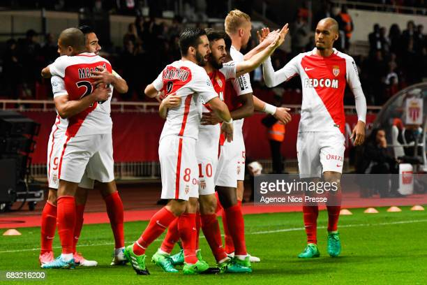 Monaco players celebrate a goal during the Ligue1 match between As Monaco and Lille OSC at Louis II Stadium on May 14 2017 in Monaco Monaco