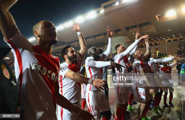 Monaco players celebrate victory after the UEFA Champions League Round of 16 second leg match between AS Monaco and Manchester City FC at Stade Louis...