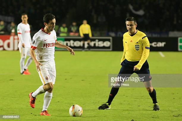 Monaco players control the ball during their match with Qarabag at UEFA Europa League group J football