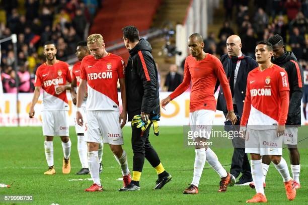 Monaco players look dejected at the end during the Ligue 1 match between AS Monaco and Paris SaintGermain at Stade Louis II on November 26 2017 in...