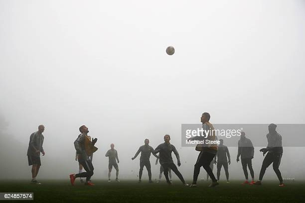 Monaco players take part in a training session ahead of the UEFA Champions League Group E match against Tottenham Hotspur FC at La Turbie training...