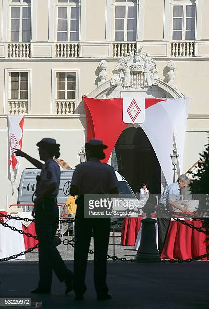 Monaco police keep watch before morning Mass and Te Deum at Monaco Cathedral on July 12 2005 in Monte Carlo Monaco The service is part of the day's...
