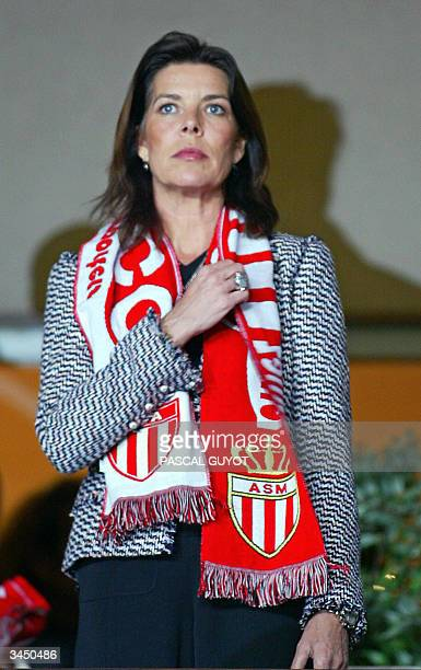 Princess Caroline of Monaco attends the Champions League semifinal firstleg football match between Monaco and Chelsea 20 April 2004 at the Louis II...
