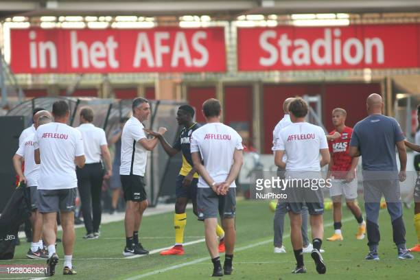Monaco squad celebrates after win during a friendly match between AZ Alkmaar and AS Monaco at AFAS Stadium, in Alkmaar, Netherlands, on August 15,...