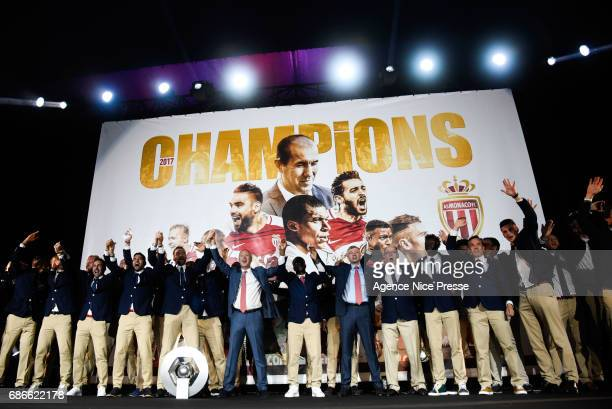 Monaco team and Prince Albert II with the trophy during AS Monaco French Ligue 1 Winners Parade on May 21, 2017 in Monaco, Monaco.