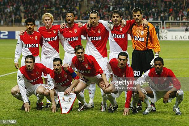Monaco team group taken before the UEFA Champions League Quarter Final Second Leg match between AS Monaco and Real Madrid held on April 6 2004 at the...