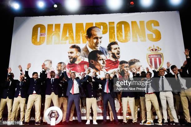 Monaco team, Vadim Vasilyev vice president and Dmitri Rybolovlev president of Monaco and Prince Albert II during AS Monaco French Ligue 1 Winners...