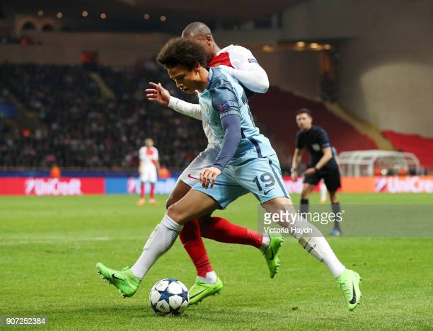 AS Monaco v Manchester City UEFA Champions League Round of 16 Second Leg Stade Louis II Manchester City's Leroy Sane battles with AS Monaco's Djibril...