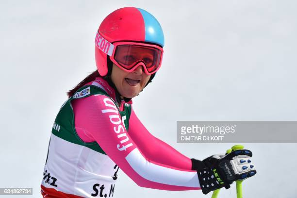 50656c0014db Monaco s Alexandra Coletti reacts in the finish area of the women s  downhill race at the 2017
