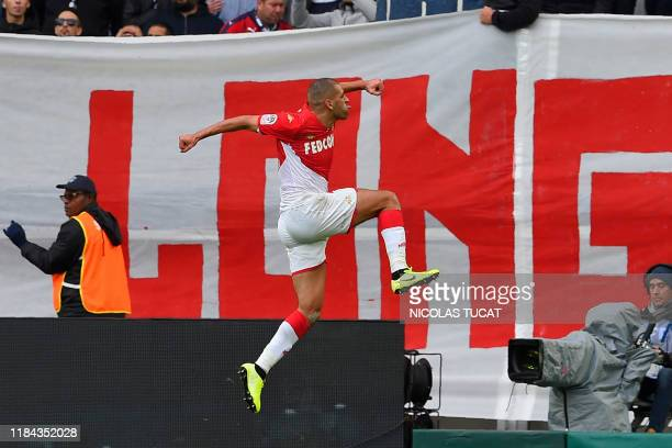Monaco's Algerian forward Islam Slimani celebrates after scoring during the French L1 football match between FC Girondins de Bordeaux and AS Monaco...