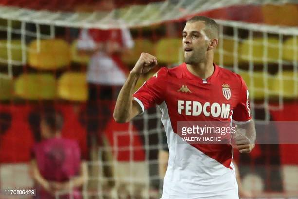 Monaco's Algerian forward Islam Slimani reacts after scoring a goal that has been later canceled by the video assistant referee during the French L1...