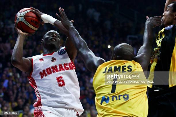 AS Monaco's Amara Sy vies with AEK Athens' Delroy James during the final four Champions League final basketball game between AS Monaco and AEK Athens...