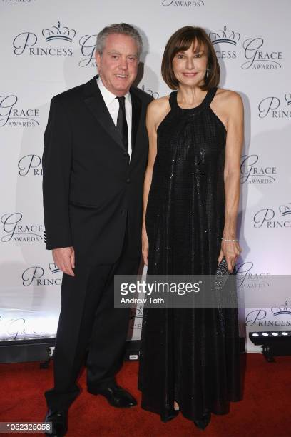 Monaco's ambassador to the US HE Maguy Maccario Doyle and guest attend the 2018 Princess Grace Awards Gala at Cipriani 25 Broadway on October 16 2018...