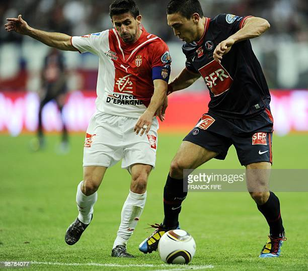 AS Monaco's Argentine midfielder and captain Alejandro Alonso vies with Paris SaintGermain's French striker Mevlut Erding during the French Cup final...