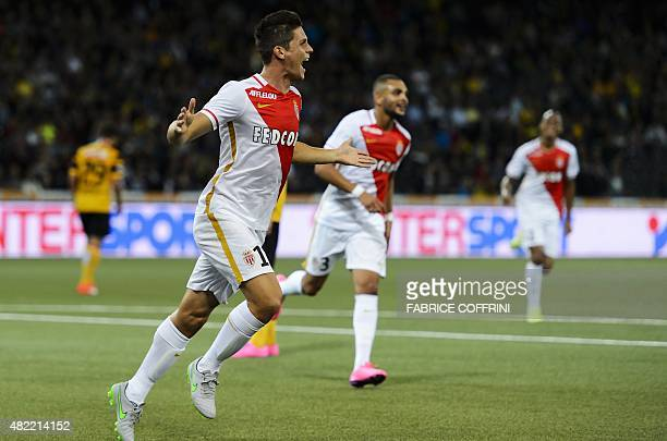 Monaco's Argentinian forward Guido Carillo celebrates the team's second goal during the UEFA Champions League third qualifying round first leg...