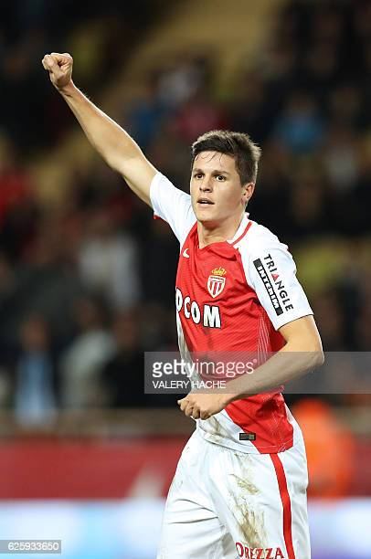Monaco's Argentinian forward Guido Carrillo celebrates after scoring a goal during the French L1 football match between Monaco and Marseille at the...