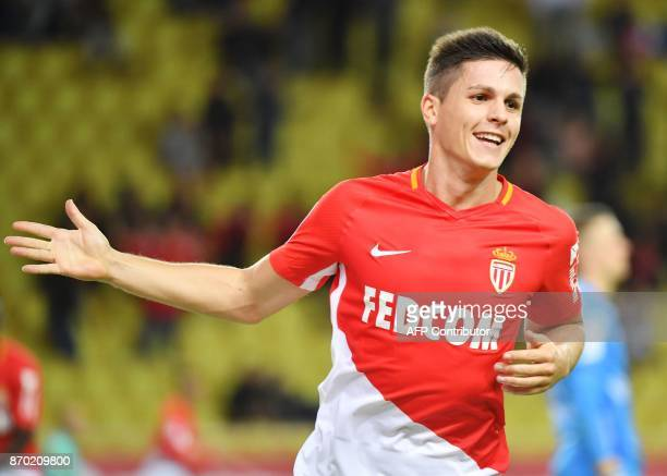 Monaco's Argentinian forward Guido Carrillo celebrates after scoring a goal during the French L1 football match Monaco versus Guingamp on November 4...