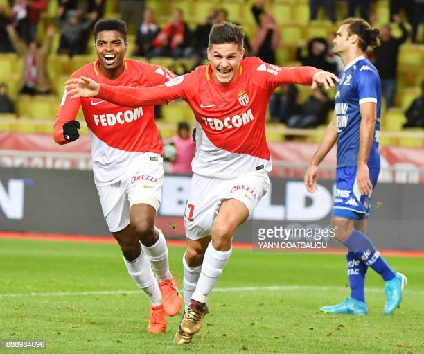Monaco's Argentinian forward Guido Carrillo celebrates after scoring during the french L1 football match Monaco vs Troyes at The Louis II Stadium in...