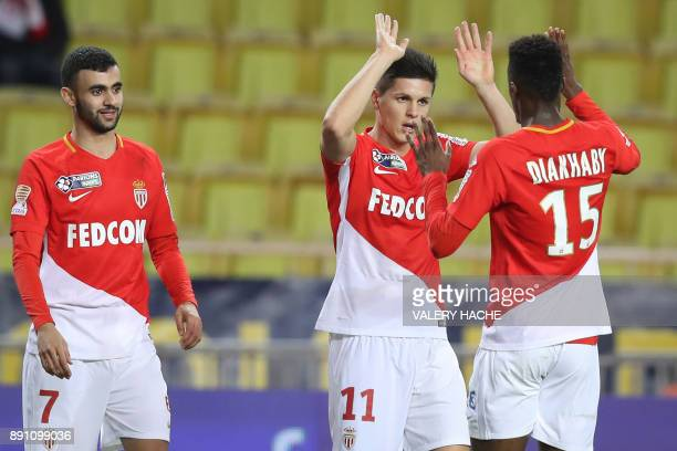 Monaco's Argentinian forward Guido Carrillo celebrates after scoring during the French League Cup round of 16 football match between Monaco and Caen...