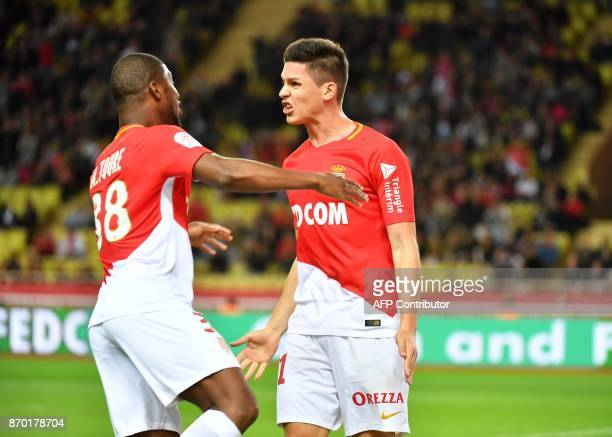 Monaco's Argentinian forward Guido Carrillo celebrates with teammates after scoring a goal during the French L1 football match Monaco versus Guingamp...