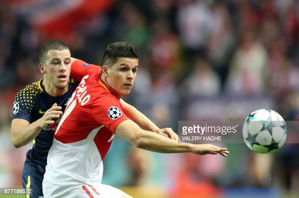 Monaco's Argentinian forward Guido Carrillo eyes the ball during the UEFA Champions League group G football match between Monaco and Leipzig at the...