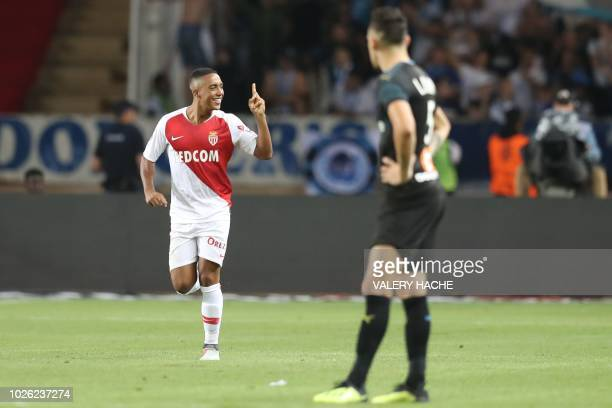 Monaco's Belgian midfielder Youri Tielemans celebrates after scoring a goal during the French L1 football match between AS Monaco and Olympique de...