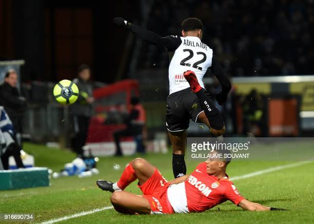 Monaco's Belgian midfielder Youri Tielemans vies with Angers's French midfielder Jeff Reine Adelaide during the French L1 Football match between...