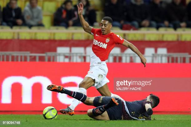 Monaco's Belgian midfielder Youri Tielemans vies with Dijon's FrenchAlgerian midfielder Mehdi Abeid during the French L1 football match Monaco vs...