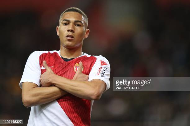 Monaco's Brasilian forward Carlos Vinicius reacts during the French L1 football match between AS Monaco and FC Girondins de Bordeaux on March 9, 2019...