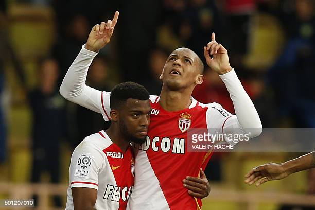 Monaco's Brazilian defender Fabinho celebrates after scoring a goal with Monaco's French midfielder Thomas Lemar during the French L1 football match...