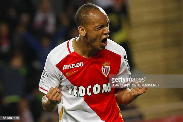 Monaco's Brazilian defender Fabinho celebrates after scoring a penalty during the French L1 football match Monaco vs Montpellier on May 14 at the...