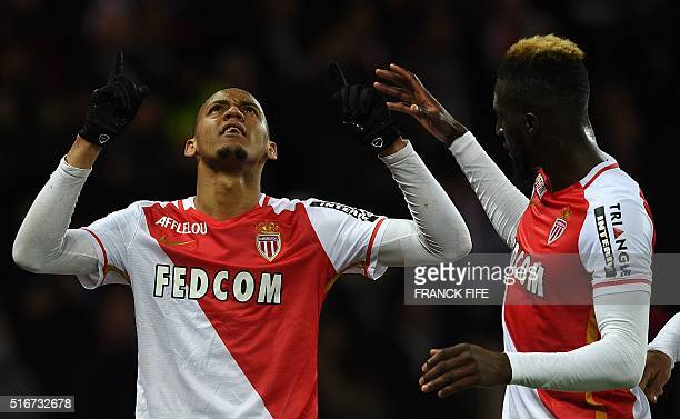 Monaco's Brazilian defender Fabinho celebrates his goal with teammate Tiemoue Bakayoko during the French L1 football match between Paris SaintGermain...