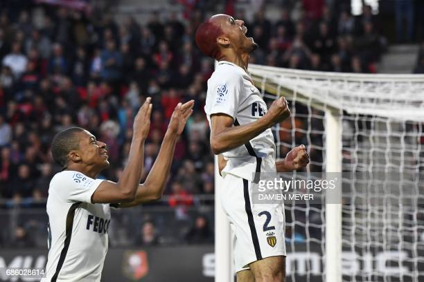 Monaco's Brazilian defender Fabinho celebrates with Monaco's French forward Kylian Mbappe after scoring a goal during the French L1 football match...