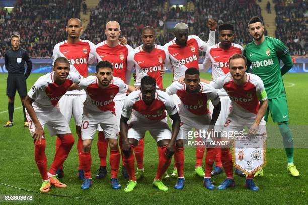 Monaco's Brazilian defender Fabinho Monaco's Italian defender Andrea Raggi Monaco's French defender Djibril Sidibe Monaco's French midfielder Tiemoue...