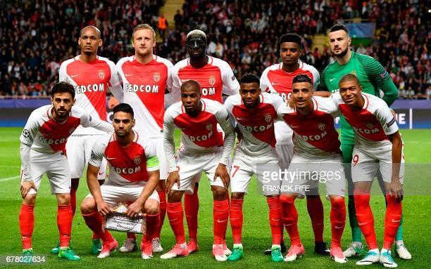 Monaco's Brazilian defender Fabinho Monaco's Polish defender Kamil Glik Monaco's French midfielder Tiemoue Bakayoko Monaco's Brazilian defender...