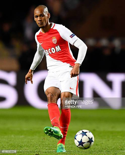Monaco's Brazilian defender Fabinho passes the ball during the UEFA Champions League semifinal first leg football match between Monaco and Juventus...