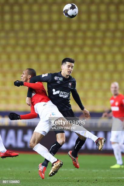 Monaco's Brazilian defender Fabinho vies with Caen's Belgian midfielder Stef Peeters during the French League Cup round of 16 football match between...