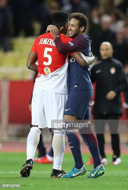 Monaco's Brazilian defender Jemerson and Paris SaintGermain's Brazilian forward Neymar hugh at the end of the French L1 football match between Monaco...