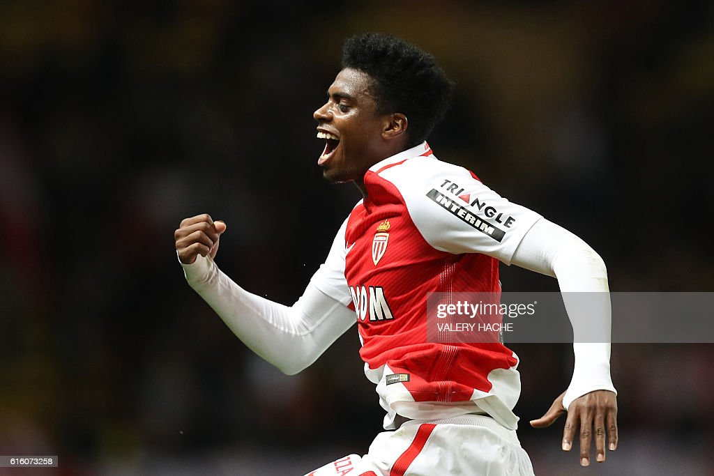 Monaco's Brazilian defender Jemerson celebrates after scoring a goal during the French L1 football match between AS Monaco and Montpellier at the Louis II Stadium in Monaco on October 21, 2016. / AFP / VALERY