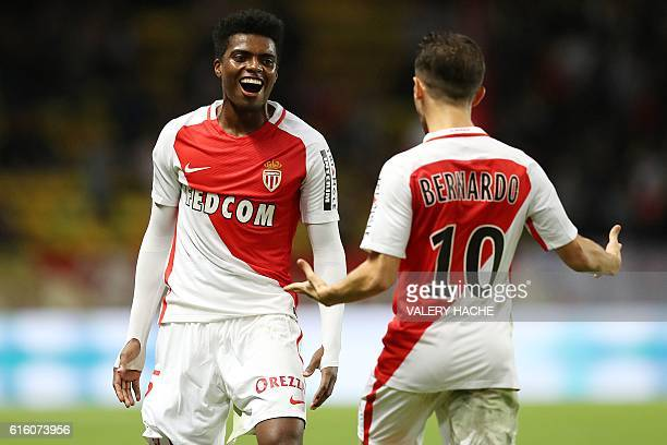 TOPSHOT Monaco's Brazilian defender Jemerson celebrates with Monaco's Portuguese midfielder Bernardo Silva after scoring a goal during the French L1...