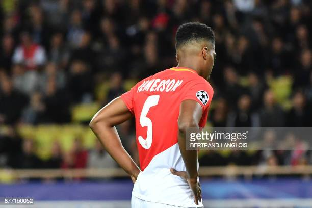 Monaco's Brazilian defender Jemerson reacts after scoring a goal against his own team during the UEFA Champions League group G football match between...