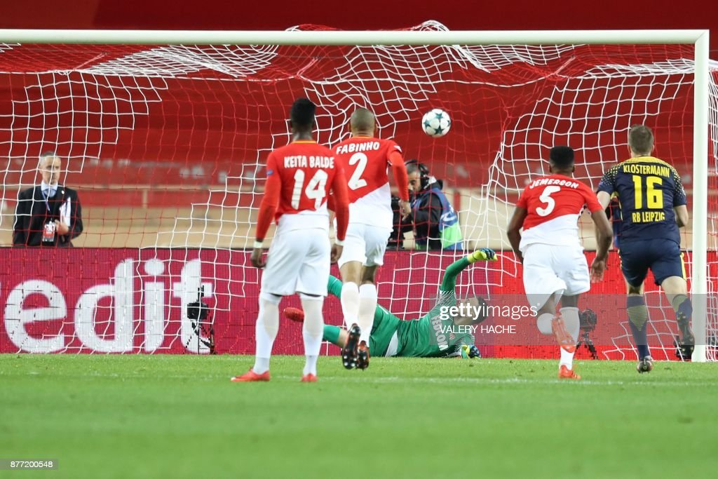 Monaco's Brazilian defender Jemerson (2nd R) scores a goal against his own team during the UEFA Champions League group G football match between Monaco and Leipzig at the Louis II stadium, in Monaco, on November 21, 2017. / AFP PHOTO / Valery HACHE