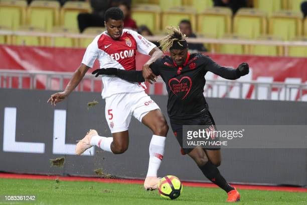 Monaco's Brazilian defender Jemerson vies with Nice's French midfielder Allan SaintMaximin during the French L1 football match between AS Monaco and...