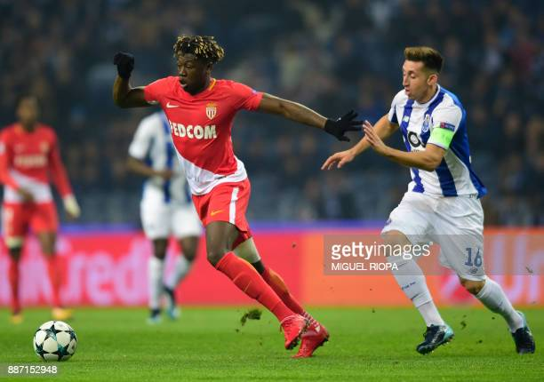 Monaco's Brazilian defender Jemerson vies with Porto's Mexican midfielder Hector Herrera during their UEFA Champions League group G football match FC...