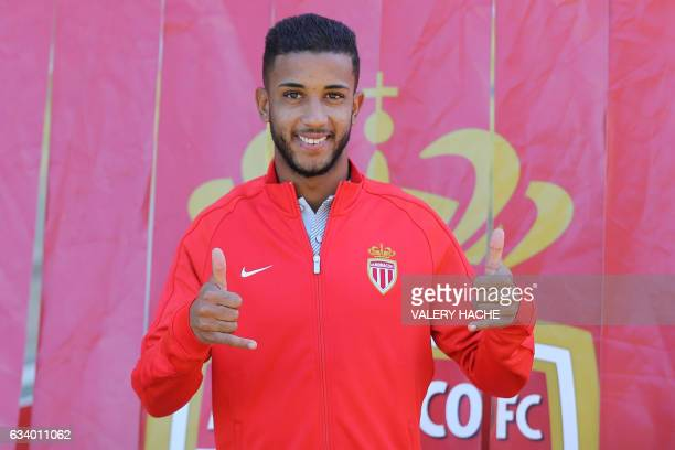 Monaco's Brazilian defender Jorge gestures as he poses during his official presentation at the AS Monaco football team on February 6 2017 at the...