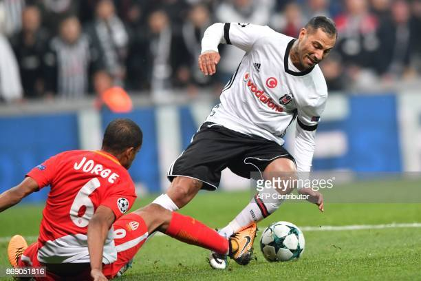 Monaco's Brazilian defender Jorge vies with Besiktas' Portuguese midfielder Ricardo Quaresma during the UEFA Champions League Group G football match...