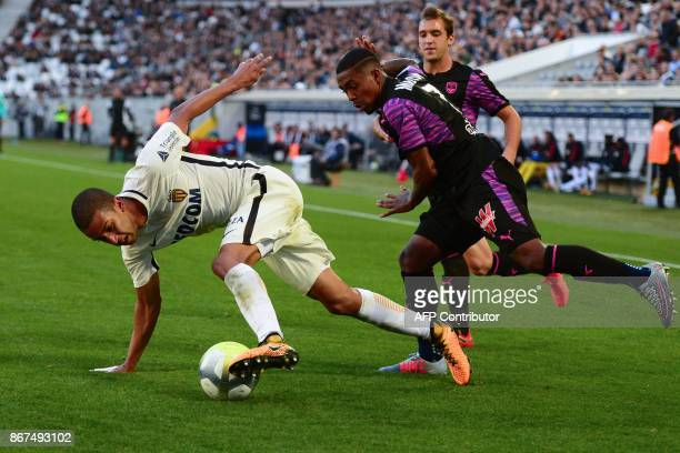 Monaco's Brazilian defender Jorge vies with Bordeaux's Brazilian forward Malcom during the French L1 football match between Bordeaux and Monaco on...