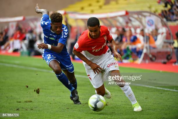 Monaco's Brazilian defender Jorge vies with Strasbourg's French midfielder Jonas Martin during the French Ligue 1 football match ASM Monaco against...