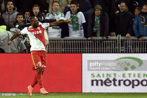Monaco's Brazilian forward Vagner Love reacts after scoring a goal during the French Ligue1 football match between AS SaintEtienne and AS Monaco on...