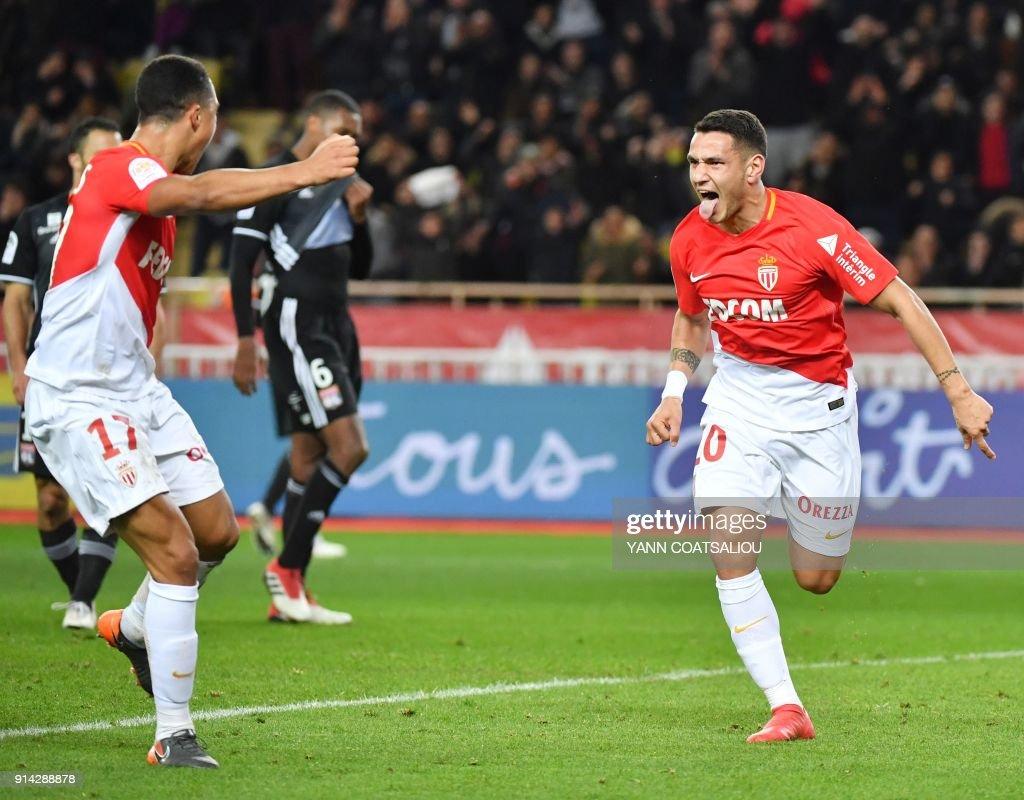Monaco's Brazilian midfielder Rony Lopes celebrates after scoring a goal during the French L1 football match Monaco (ASM) vs Lyon (OL) on February 4, 2018 at Louis II stadium in Monaco. /